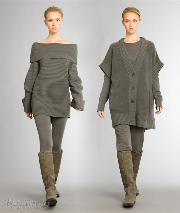 Donna Karan Resort 2010 collection - Aspen Glam and Cashmere stylish ski or winter wear, cashmere off-shoulder top, pullover and vest
