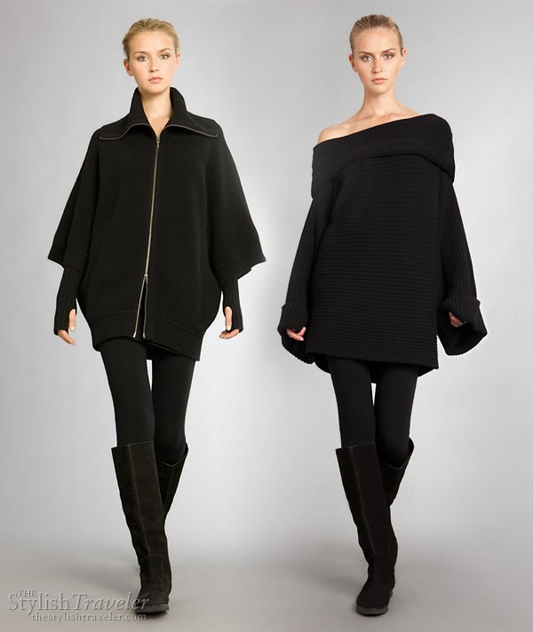 Donna Karan Resort 2010 collection - Aspen Glam stylish ski or winter wear, boots, Cashmere System Dolman Zip Jacket cape, off-shoulder cowl