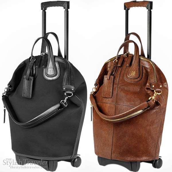 Givenchy Nightingale Trolley Bag in black neoprene and nappa and brown shagreen-print leather from Fall/Winter 2010 ready to wear line