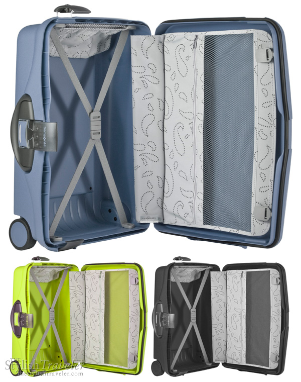 Samsonite Cabin Collection - inside of suitcase, showing colors night shadow blue, lime green anis and graphite.