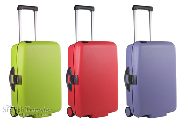 Samsonite Cabin Collection - upright trolley bag in lime green anis, bright red and lavender