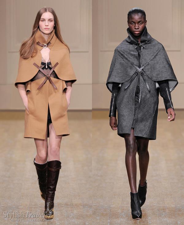 Julien Macdonald Fall/Winter 2010 cape in beige and grey