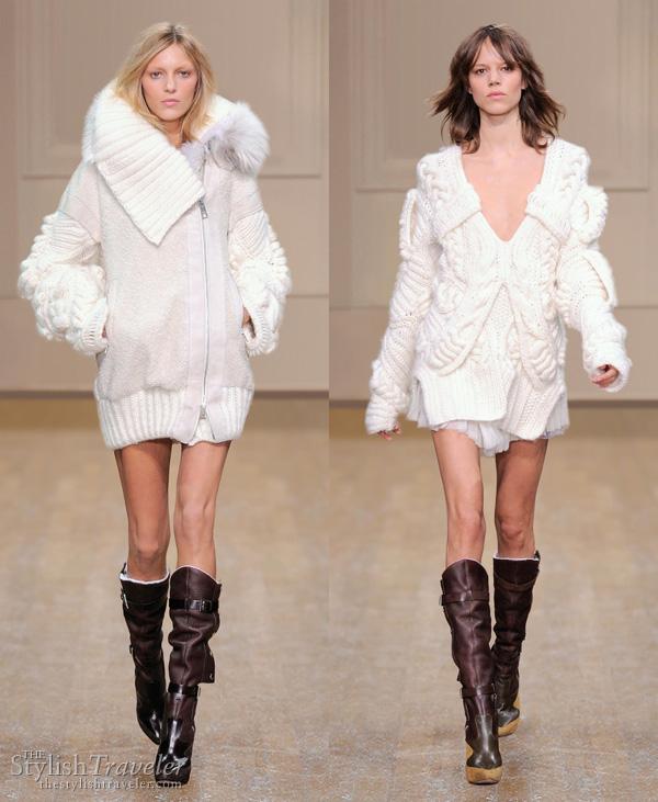 Julien Macdonald Fall/Winter 2010 white chunky knit sweater
