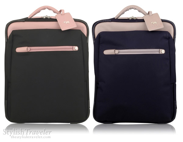 Radley Montague wheeled cabin suitcase - trolley bag in black/pink and purple