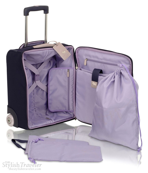 Radley Montague wheeled cabin suitcase - showing interior of purple trolley bag