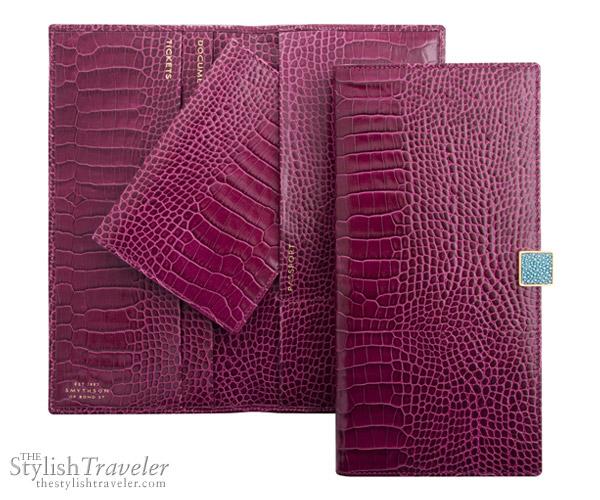 Smythson Slim Travel Wallet, Damson Collection