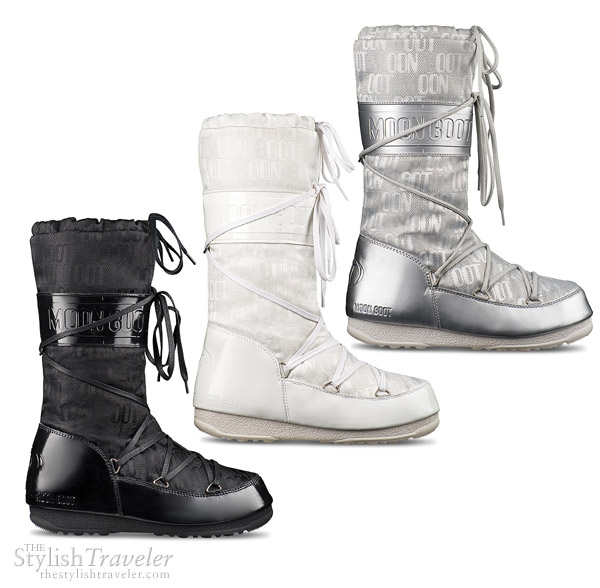 Tecnica Moon Boot Jacquard - white, black silver moon boots for winter and cold climate