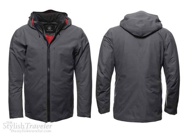 Aether Coud Jacket in Dark Shadow - all-weather zip-up hooded jacket