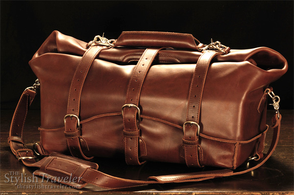 Waterbag by Saddleback Leather Company, convertible water and dust proof travel carrier, shown as rolled up cabin bag which resists liquid and dust