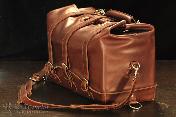 Waterbag by Saddleback Leather Company, convertible water and dust proof bag, shown as large overnighter bag