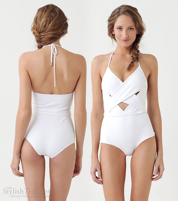white swimsuit halter neck - Zimmermann Laughing Gull One-Piece cutout maillot, available at Antropologie