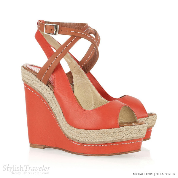 paloma barcelo velati red tan leather wedge sandals