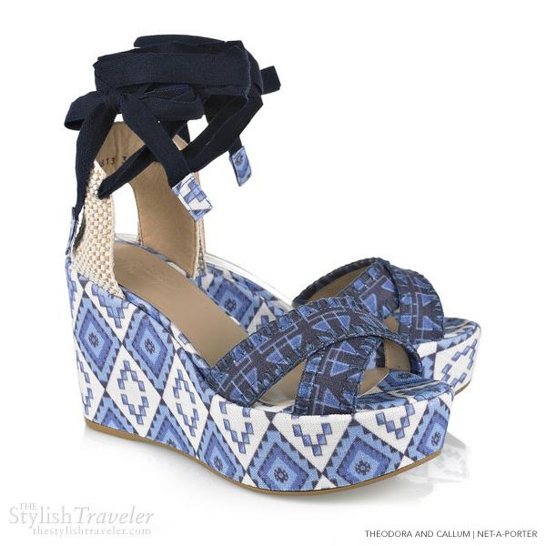 theodora callum printed wedge sandals